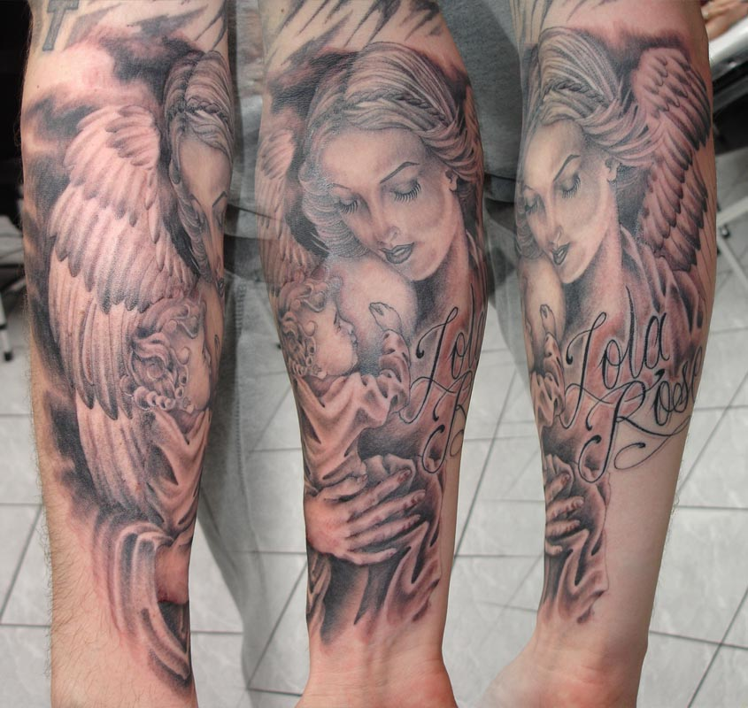 Angel and cherub tattoos are pretty popular designs for women.