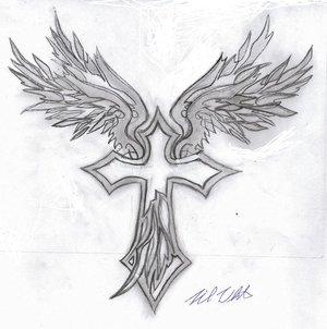 angel winged cross tattoos foot tattoos design. Black Bedroom Furniture Sets. Home Design Ideas