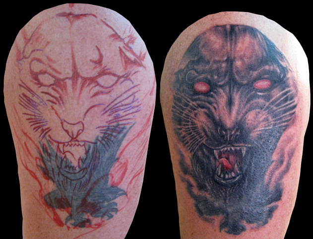 Panther tattoos on thigh 1973