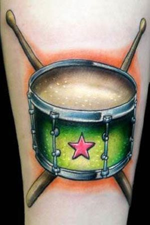 Drummer Tattoo Ideas … drum and sticks for a recovered drug addict with a