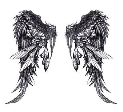 angel wing tattoos on lower back