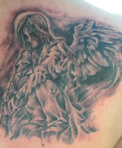 anami angel tattoos Foot Tattoos Design An angel with a halo praying and a
