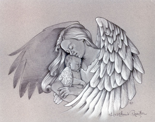 angel holding babies tattoos