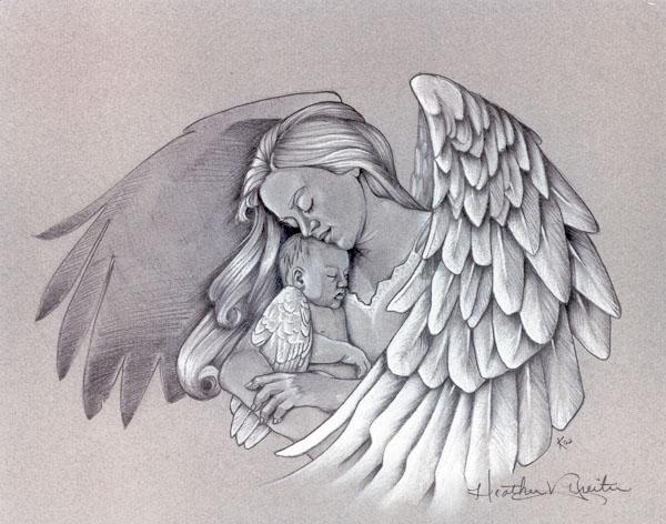 angel holding babies tattoos foot tattoos design. Black Bedroom Furniture Sets. Home Design Ideas