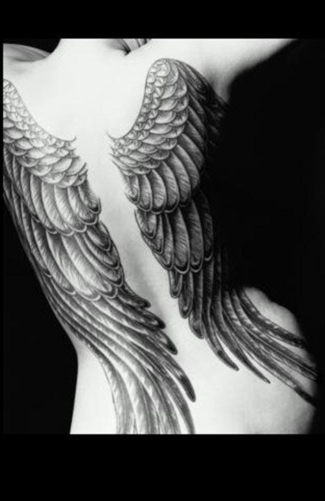 angel wing back tattoos