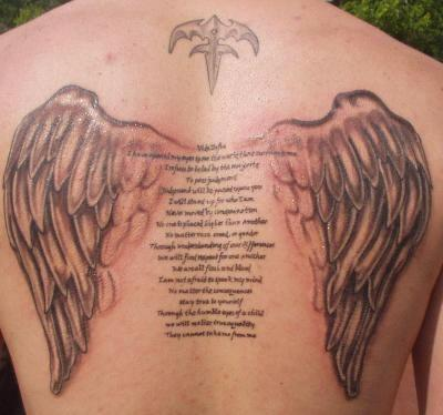 Looking for a unique angel wings halo tattoo? We got it!