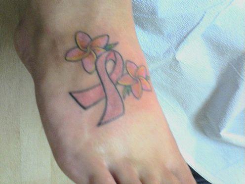 cancer ribbon tattoo ideas | Foot Tattoos Design