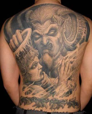 Scary fallen angel tattoo. of god who are protective to us, like guardian
