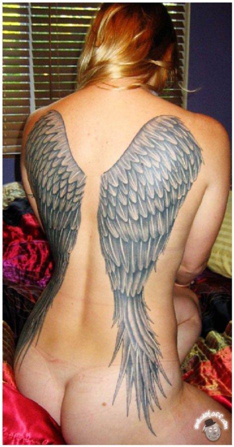 angel wings back tattoos