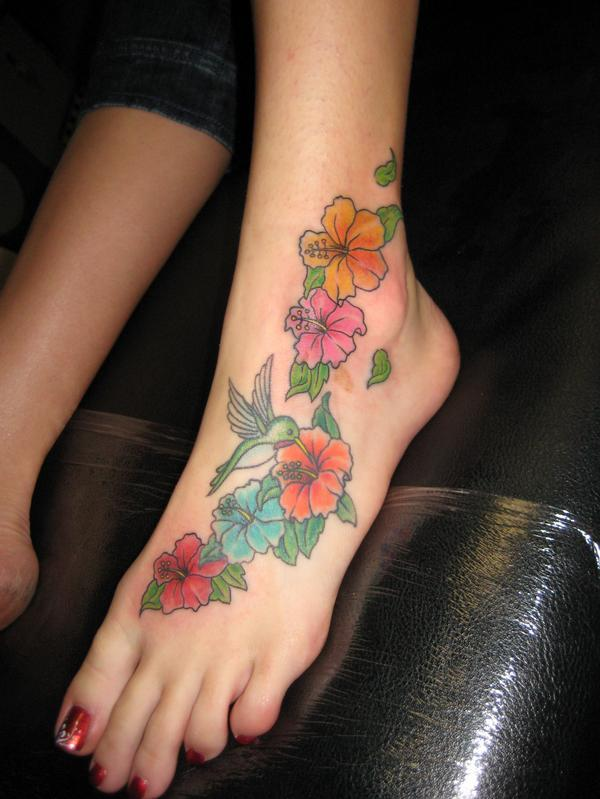 foot flower tattoos