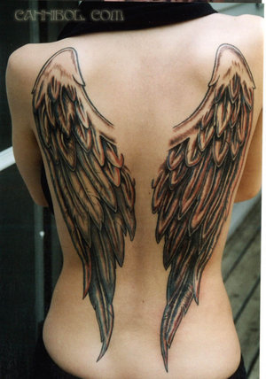 Angel tattoos can be large or small, some designs are very large – covering