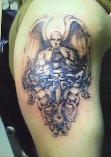 male angel tattoos foot tattoos design. Black Bedroom Furniture Sets. Home Design Ideas