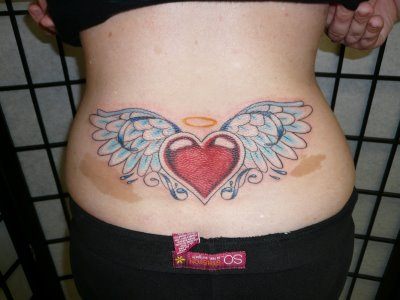 pictures of angel wings tattoos on small of back