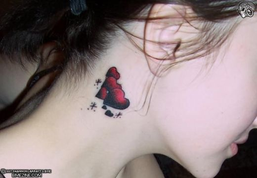 "The first tattoo is funny but completely cheap, it reads ""Shhh…"