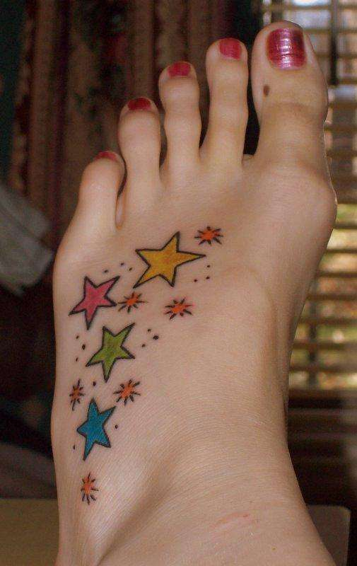 Bjork: has a small star tattoo behind her right ear.