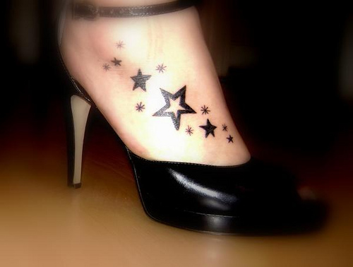 star tattoos on foot